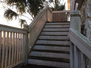Allbrite Powerwashing Stairs Before Cleaning